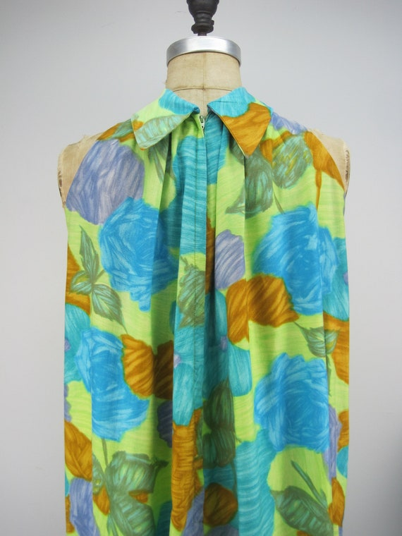 Vintage 60s cotton Hawaiian dress, floral Hawaiia… - image 4