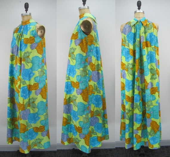 Vintage 60s cotton Hawaiian dress, floral Hawaiia… - image 2