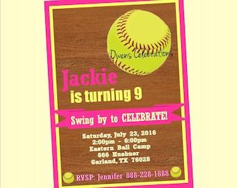 softball birthday party invitation softball invitation and etsy