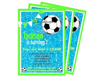 Soccer Pool Party Invitation, Pool Party Invitation, Boy Pool Soccer Party - Digital File