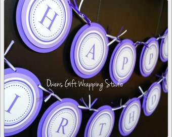 Purple Happy Birthday Banner, Purple Birthday Decorations, Milestone Birthday Banner by Owens  Celebrations