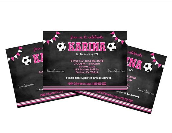 chalk soccer invitation girl soccer party invitation pink etsy
