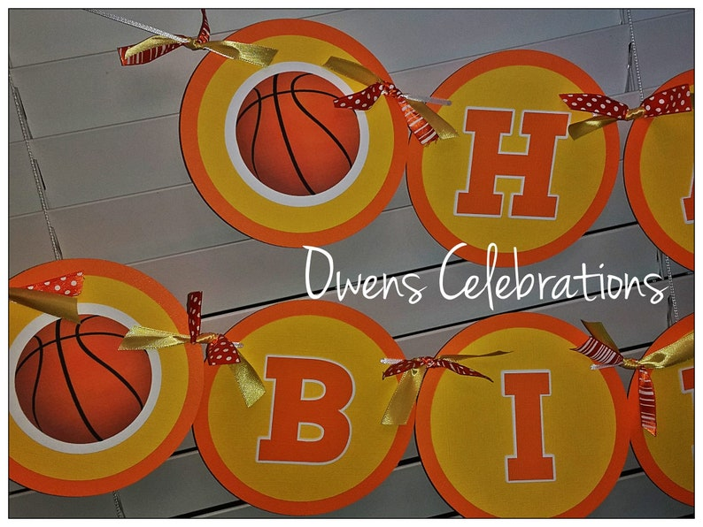 Basketball Party Supplies  CUSTOM COLORS available by Owens Celebrations Basketball Happy Birthday Banner Basketball Birthday Decorations