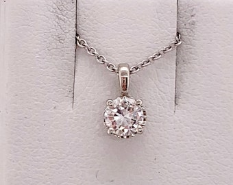 0.10 Ct Round Cut Simulated Diamond LetterC In Heart Pendant With 18 Chain 14K White Gold Plated