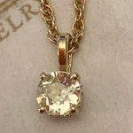 Reserved for Heather Antique 14k Yellow Gold Old European Cut Diamond Filigree Pendant, .42 ct, N-I1 and 18 Inches Long