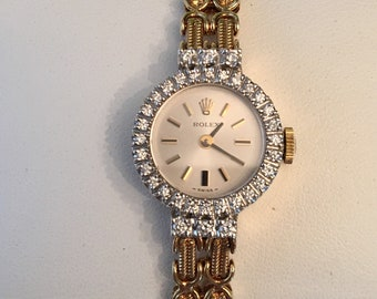 39b3caf887d RESERVED layaway for Deb Martinez only payment 3 of 4 14k yg Rolex Watch  Link Bracelet 34 Diamonds .34 tw G-VS1
