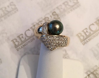 Vintage 14k two tone 9mm Grey Tahitian Cultured Pearl & 40 Diamond Bypass Ring .80 tw, IJ-SI2,I1, size 9