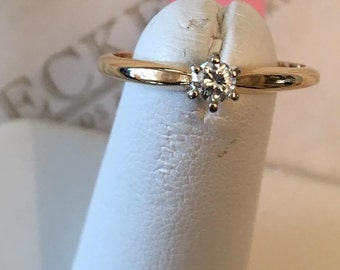Vintage 14k two tone Round Brilliant Cut Diamond Solitaire Engagement Ring, .14 ct, I-VS2, size 6.5
