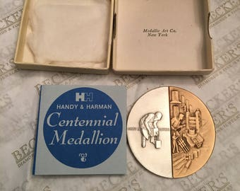 Vintage Handy & Harman 100 year Centennial Medallion in Sterling Silver and Commercial Bronze, 1967, Original Box and Papers