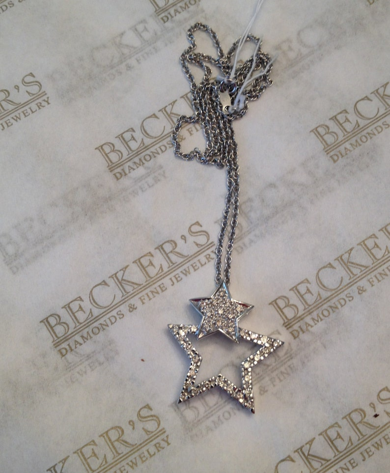 1b432e01c82 Vintage 14k white gold Diamond and Double 5 Pointed Star