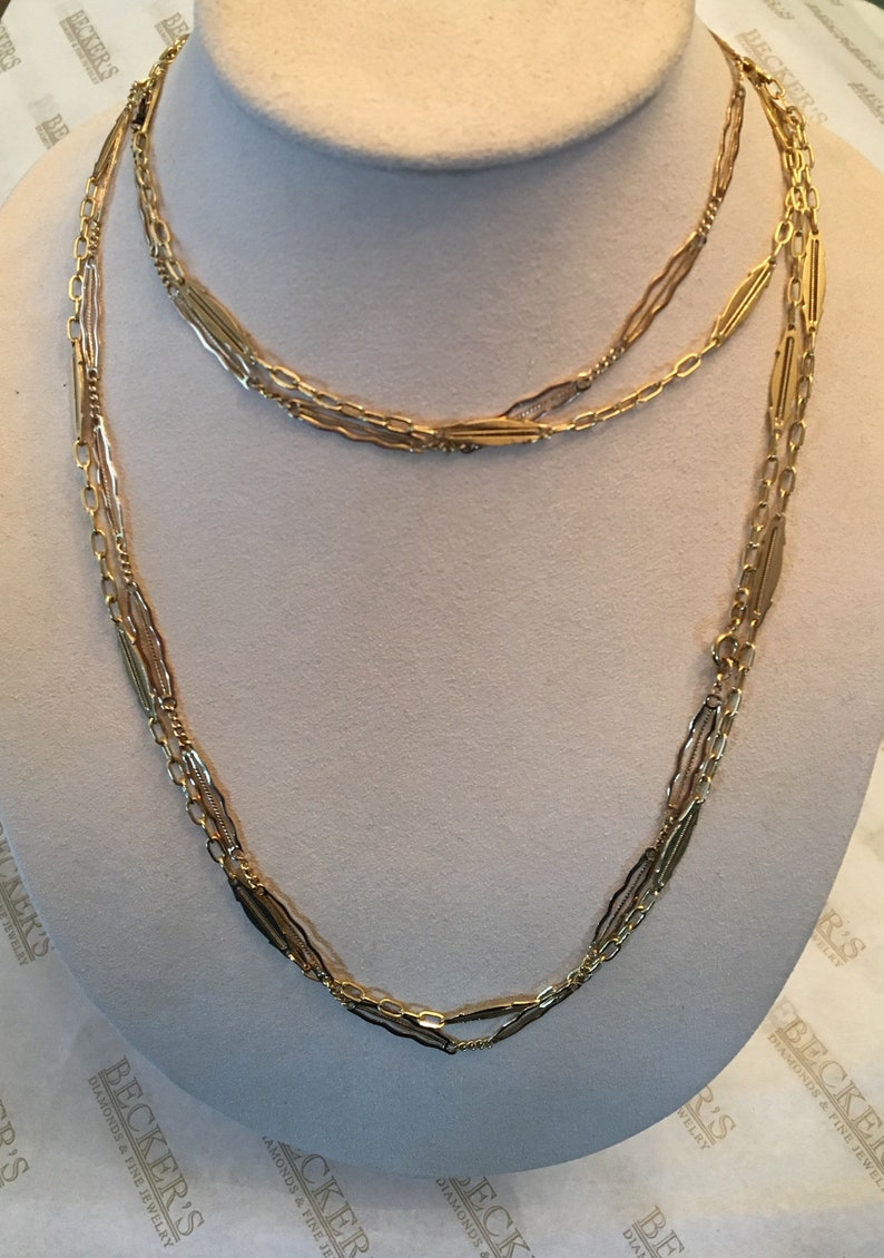 e017ae9acc4 Long Vintage 18k yellow gold Scalloped Filigree Link Chain Necklace, 72