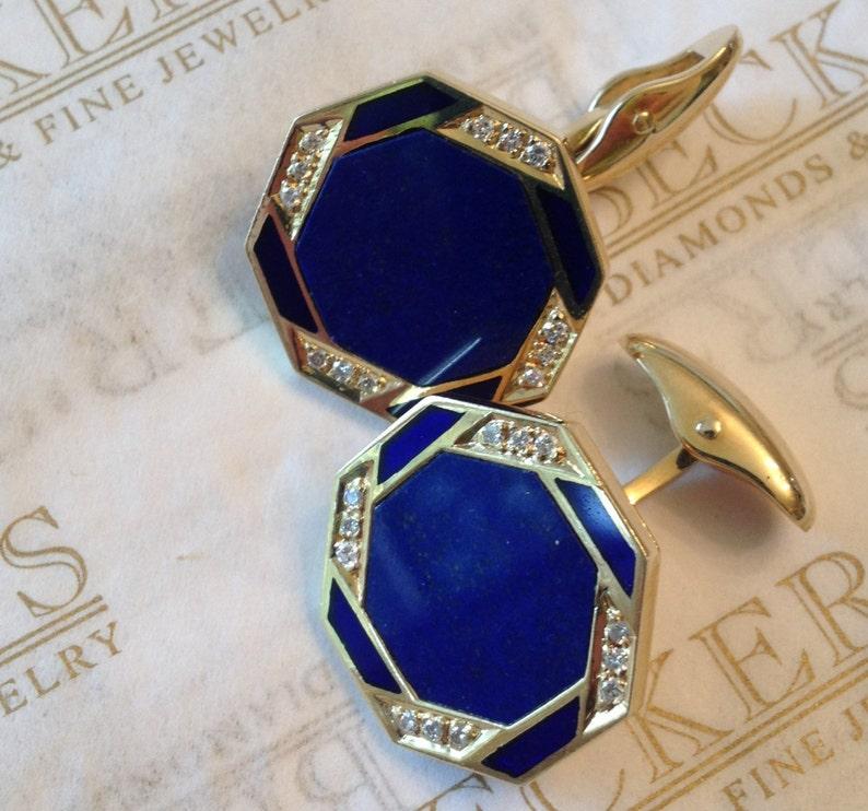 Vintage pair of mens 18k yellow gold Lapis Lazuli Blue Enamel image 0