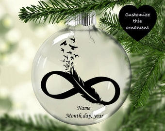 infinity feather ornament memorial ornament feathers to birds ornament in memory of ornament memorial christmas ornament