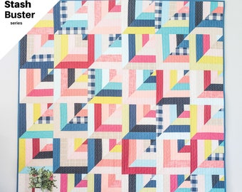 Lucky Log Cabins PDF Quilt Pattern/ Log Cabin Quilt pattern/ Modern quilt pattern /quilt pattern/ jelly roll quilt pattern