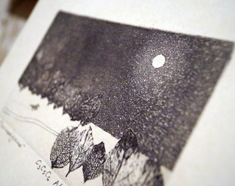 Fullmoon. An Original Etching with Aquatint and Softground Print