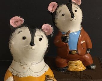 Vintage Bear Figurines Mama Papa Bear | Made in Japan | Paper Mache Figures | Woodland Nursery Decor | Teddy Bear Collection | Fantasy Bear