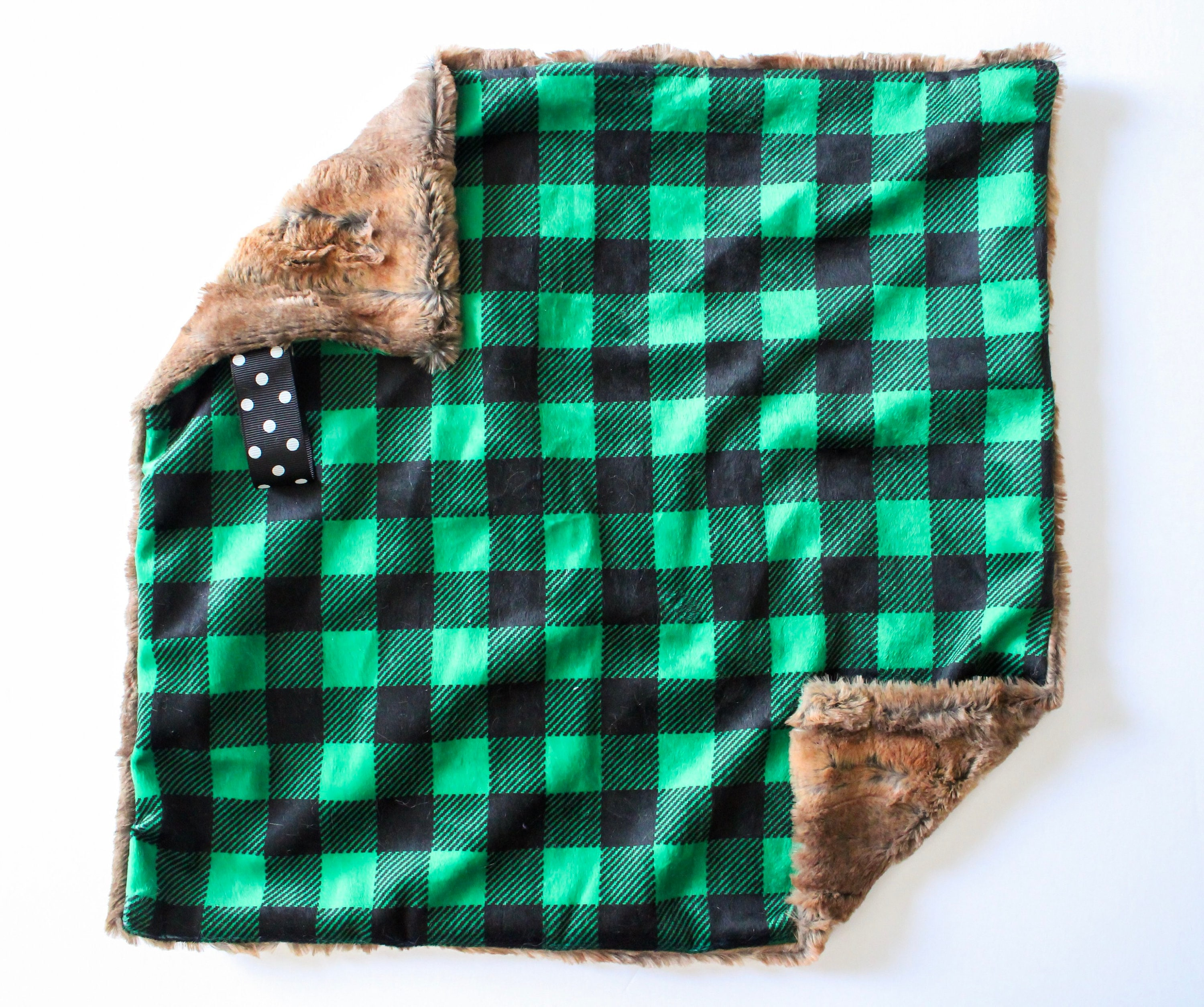 74770d800 Green & Black Plaid Lovey Blanket / small newborn, baby blanket, buffalo  plaid, wood fur, rustic, farm, fall and winter