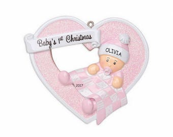 Personalized Heartily Yours Baby's First Christmas Ornament - Girl