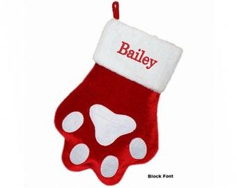 Personalized Dog Paw Christmas Stocking