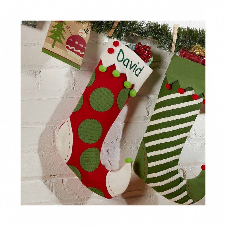 64a230b0d Personalized Whimsical Jester Stocking Red Dots