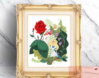 Alice in Wonderland and Flowers Illustration Print