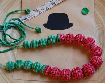 Crochet necklace / crochet beads / watermelon beads