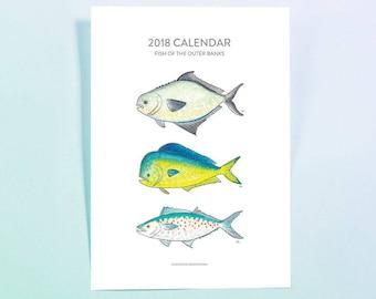 Printable 2018 Calendar - Watercolor Fish - Outer Banks Fish - Fishing - Instant Download - Digital Download