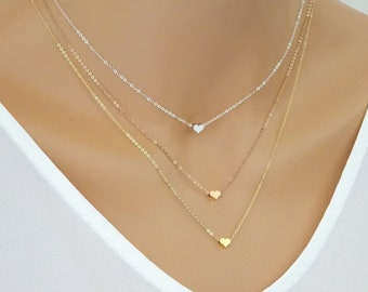 Heart Necklace. Small Love Heart Charm. Choker Jewelry