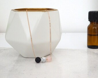 Lava rock Necklace, Rose Quartz and Marble Diffuser, Essential Oil jewelry, Aromatherapy necklace, Lava stone necklace, Boho necklace