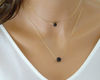 Dainty Lava Necklace, Minimalist Necklace, Diffuser Pendant, Gift for Her