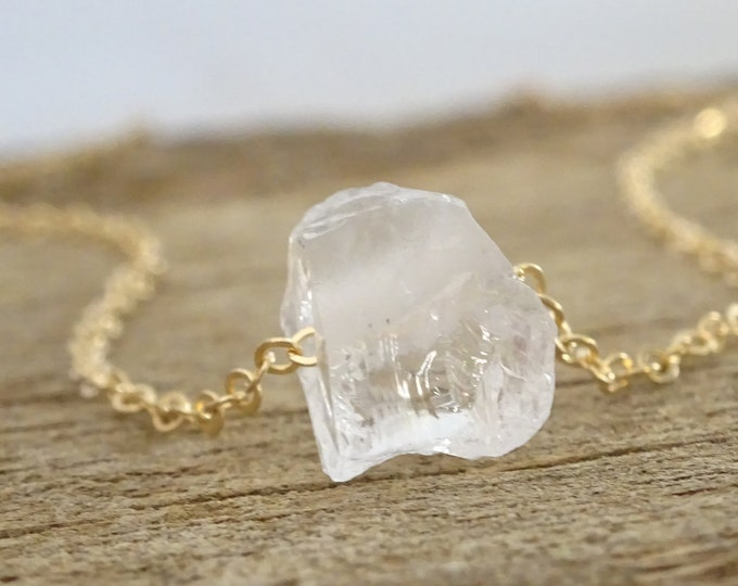 Quartz and Brass Bar Necklace; Quartz Necklace; Gemstone Necklace; Gemstone Jewelry; Raw Gemstone; Boho Necklace; Boho Jewelry; Quartz