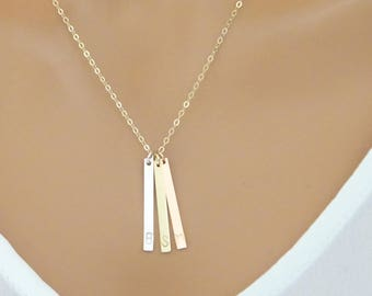 Personalized bar necklace, Custom hand stamped necklace, Minimal vertical bar necklace