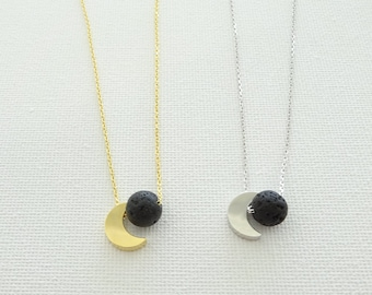 Moon + Lava Aromatherapy Essential Oil Diffuser Necklace, Oil Diffuser Necklace, Aromatherapy jewelry, moon necklace