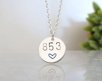 Personalized disc necklace for Police wife, Custom law enforcement badge number pendant, Police Officer necklace,