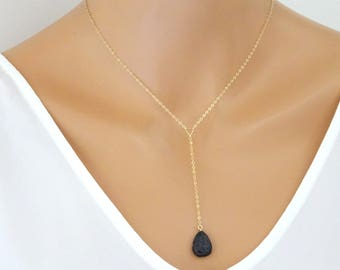 Lariat Lava Diffuser Necklace, 14 kt Gold fill Essential Oil Diffuser, Dainty Teardrop Lava Necklace, Aromatherapy Jewelry