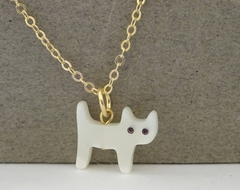 Cat necklace, Gold Cat charm necklace, Cat lover Jewelry,  Carved Mother of Pearl Necklace, lucky cat  jewelry