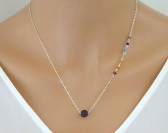 Chakra necklace, Diffuser Lava rock necklace, Seven chakra jewelry, Essential Oil, Aromatherapy Necklace, Boho jewelry, Yoga neckalce