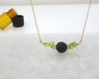 Lava Stone Diffuser Necklace, Single Black Lava rock Necklace with Natural Peridot, Essential Oil Aromatherapy necklace, Pick your gemstone
