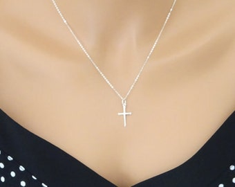 Sterling Silver Cross Necklace, Baptism necklace, Christening Necklace, Silver Cross necklace, Skinny cross pendant, Confirmation Gift