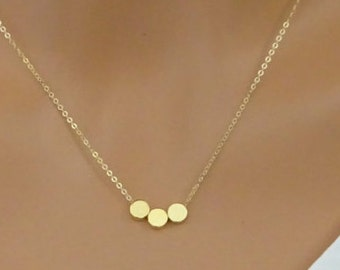 Dot necklace, Circle necklace, personalized friend gift, Hand stamped initial Necklace, bridesmaid disc necklace, new mom necklace