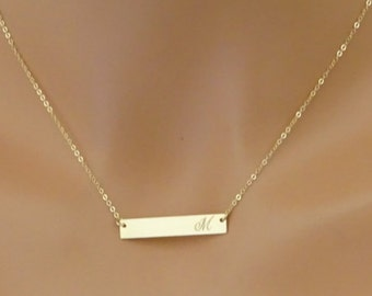 Gold bar necklace, Personalized necklace, Name Necklace, Name Plate Necklace, Initial Necklace,  Monogram Necklace, gift for her