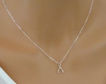 Wishbone Necklace, Sterling silver Wishbone Charm Necklace, Wishbone Pendant Necklace, Lucky  charm Necklace, Tiny Wishbone Necklace