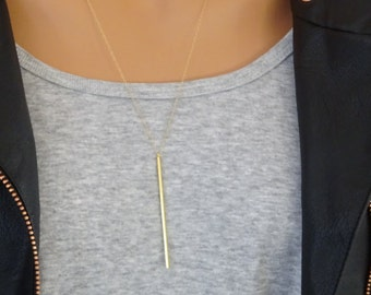Long Gold bar necklace, Thin Bar pendant necklace, 14k gold fill chain, Layering necklace, Boho necklace