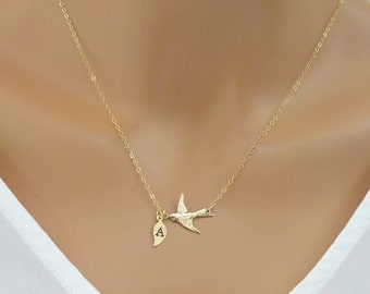 Bird Necklace, Personalized necklace with custom initial Leaf Family Necklace, Custom Necklace, Grandma Necklace