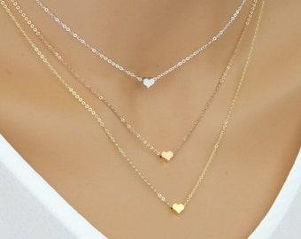Heart necklace, heart jewelry, necklacefor women, Heart pendant, small heart necklace, heart choker, silver heart necklace, LAminiJewelry