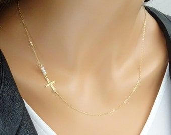 Sideways Cross Necklace with three tiny Birthstones, godmother jewelry, Silver cross necklace, Baptism gifts, Christening jewelry