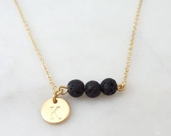 Personalized Lava Rock Diffuser Necklace, Three Bridesmaids Essential Oil jewelry, Aromatherapy lava stone Inital necklace, Disc necklace