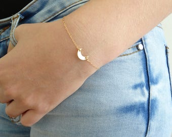 Mini Moon bracelet, Tiny sideways crescent moon charm, Moon jewelry  in Sterling Silver, 14kt Gold Filled