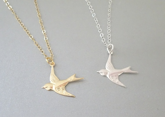 Sterling Silver Soaring Bird Pendant Necklace W// CZ