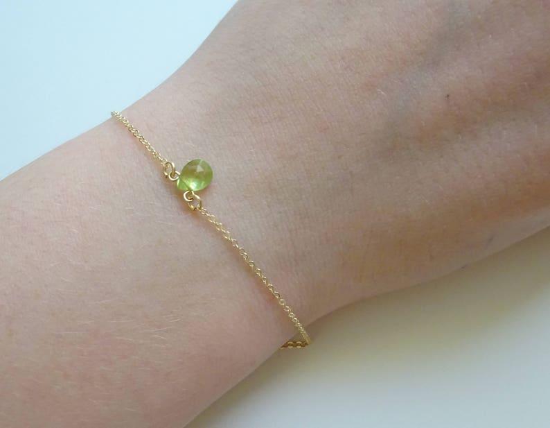 Real Gemstone Bracelet Dainty Bracelet Minimal Birthstone Bracelet Peridot Bracelet